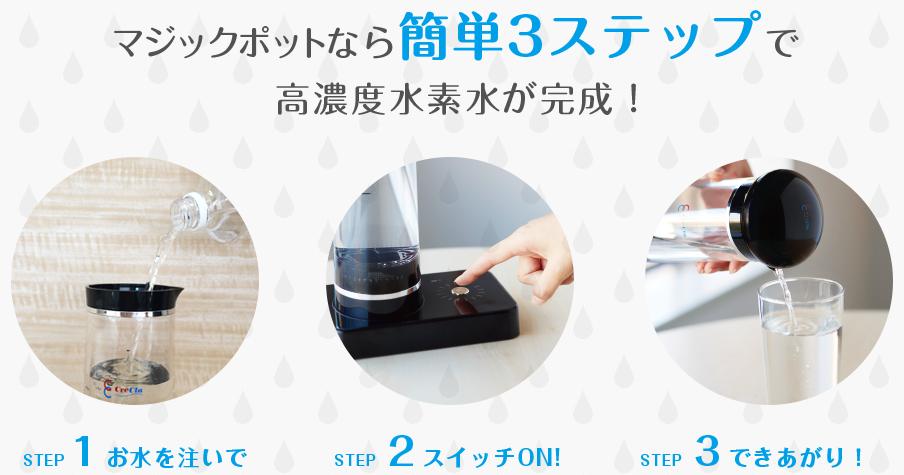 簡単3ステップで水素水ができるマジックポット